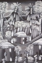 BLACK & WHITE HAITIAN VILLAGE HAITI ART CIVIL PAINTING - $267.30
