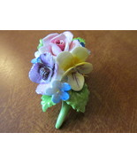 Vintage Royal Adderly Colorful Floral Pin - Bone China, Made in England,... - £7.78 GBP