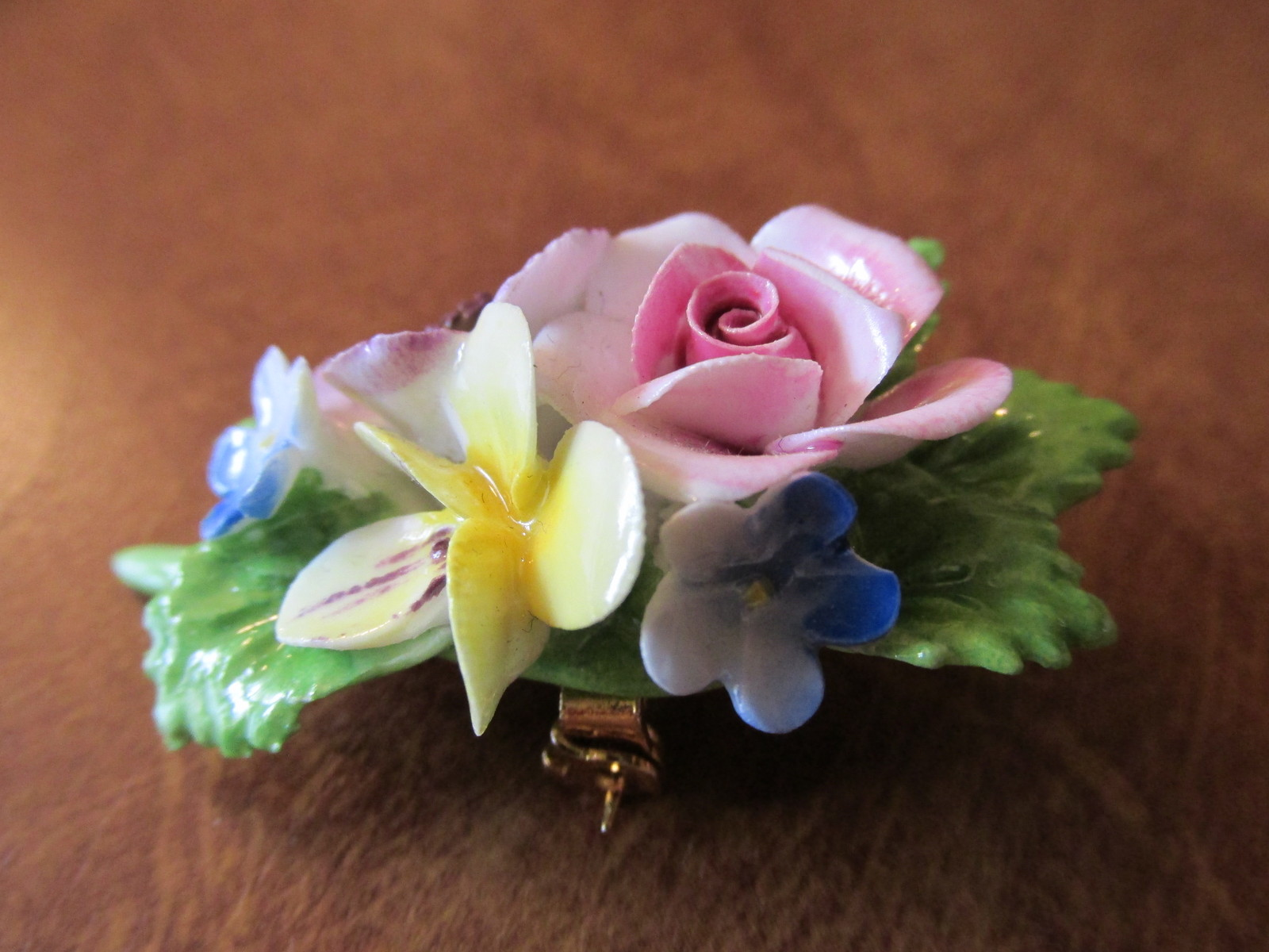 Vintage Royal Adderly Colorful Floral Pin - Bone China, Made in England, 1970s