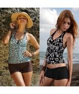 Women Tankini Swimwear Ladies Two Piece Swimsuits Black Bathing Suits Bo... - $35.00