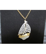 JJ Jonette Large Enameled & Gold Toned Sailboat Pendant Necklace - 1970s - $12.99