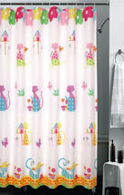 CARTOON CAT Color Design 180 x 180 cm POLYESTER Bathroom Use SHOWER CURT... - $27.99