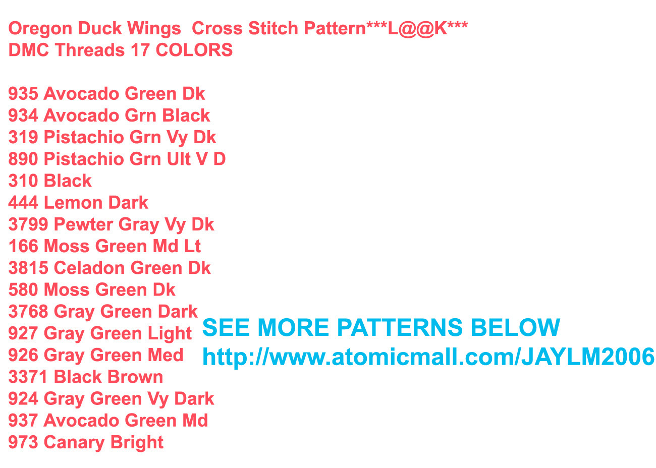 Oregon Duck Wings  Cross Stitch Pattern***L@@K***