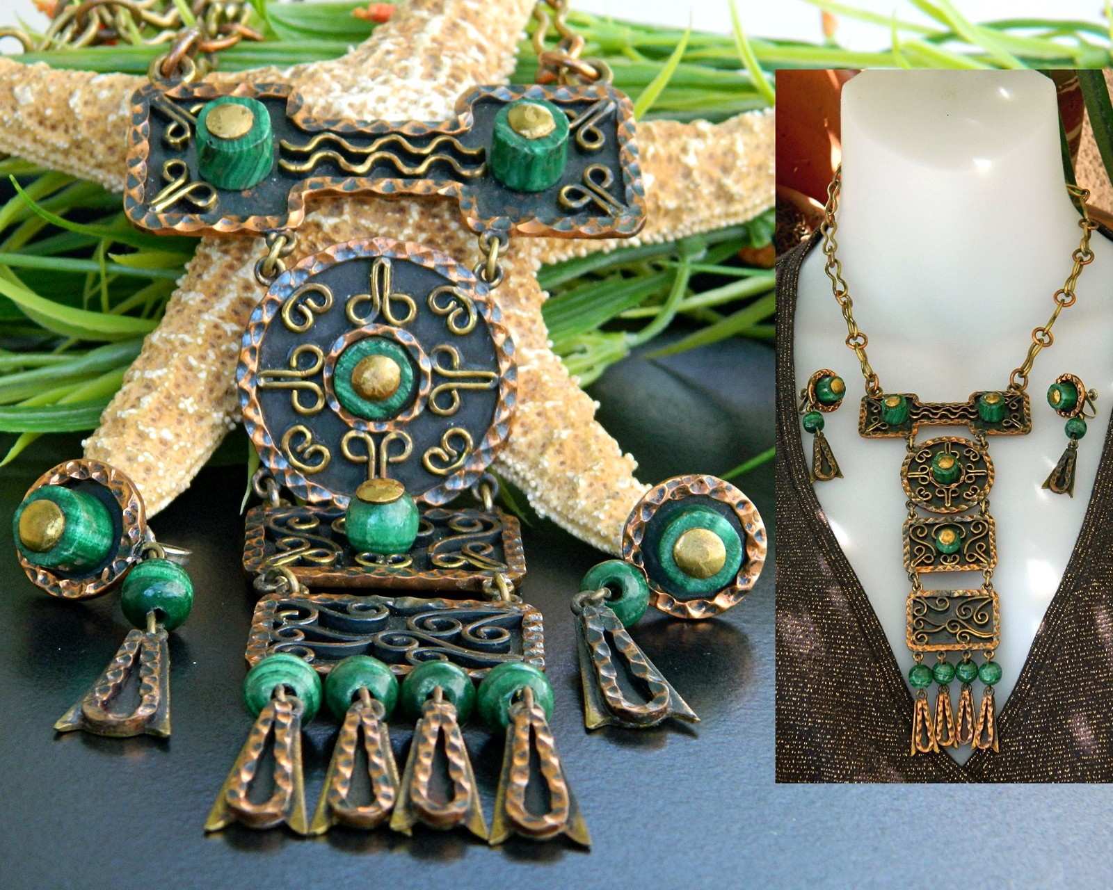 Vintage casa maya mexico necklace earrings mixed metal set signed