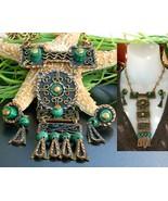 Vintage casa maya mexico necklace earrings mixed metal set signed thumbtall
