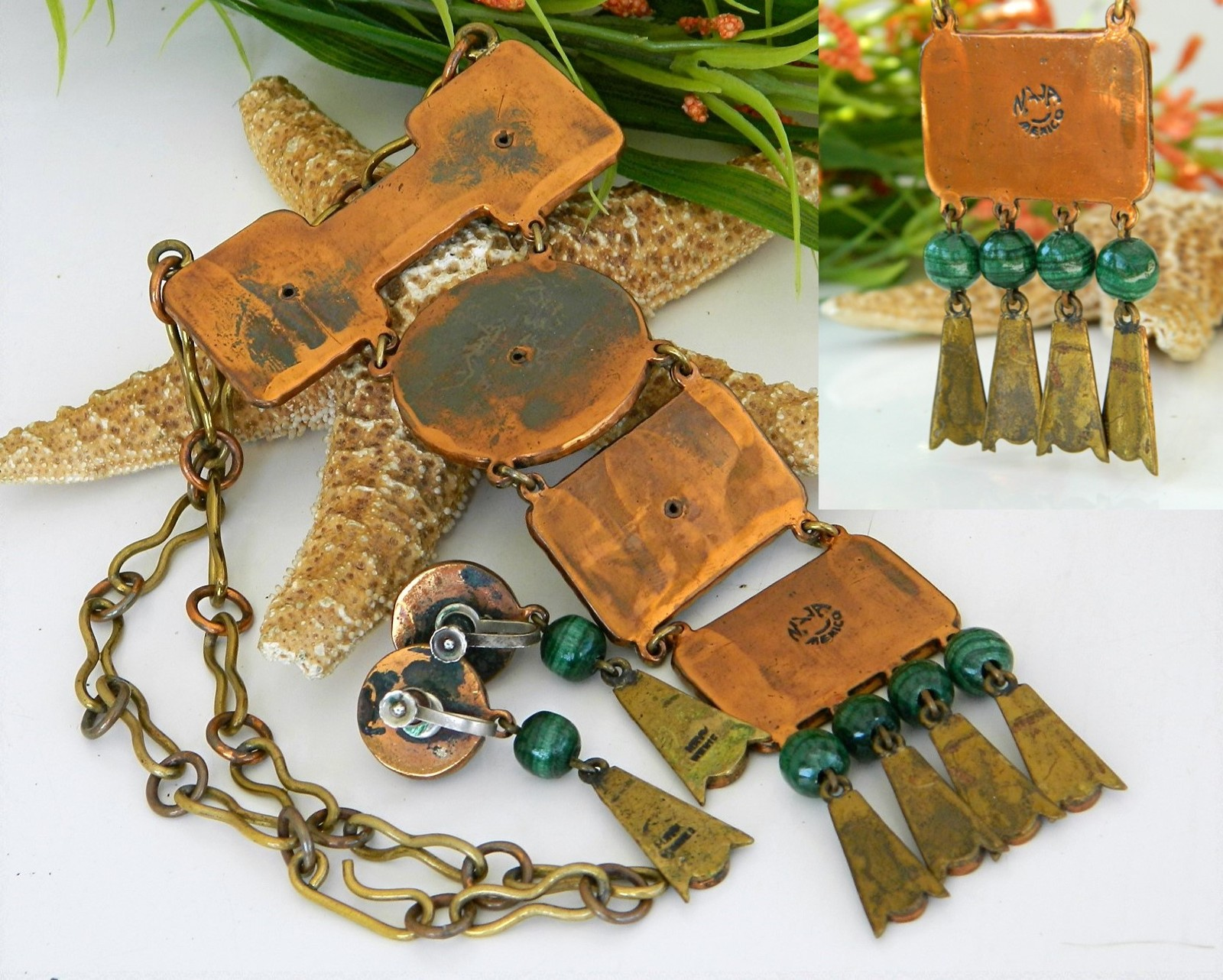 Vintage Casa Maya Mexico Necklace Earrings Set Mixed Metals Signed