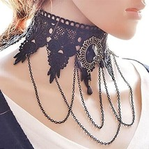 2019 Fashion Sexy Gothic Chokers Crystal Black Lace Neck Choker Necklace... - $7.77