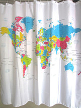World Map Colorful Design 180 X 180 Cm Polyester Bathroom Use Shower Curtain Set - $23.99