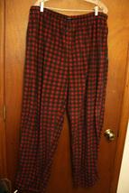 Men's Izod Red Black Plaid Fleece Sleepwear Lounge Pants XL - $9.99