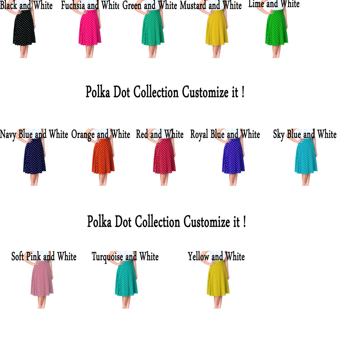 Women's Solid Color Flared Maxi A Line Below and Above Knee Polka Dots Skirts, used for sale  USA