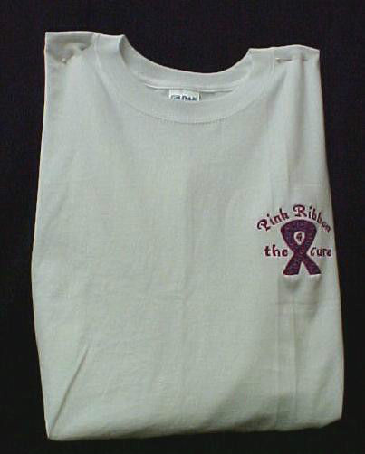 Breast Cancer T-Shirt M Pink Purple Ribbon 4 Cure White Long Sleeve Crew New