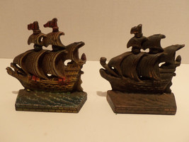 "Vintage Cast Iron Handpainted Ship Boat Decorative Book Ends 4.5""x4.5"" - $29.35"