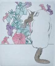 "Meg Dawson Etching "" Petunia"" Siamese Cat sitting in window next to Flow... - $23.98"