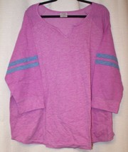 NEW WOMENS PLUS SIZE 4X VIOLET  NOTCH NECK TOP WITH BLUE STRIPED SLEEVES  - £14.79 GBP