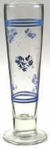 3 Pfaltzgraff Blue Yorktowne Floral Tall Pilsner 14 Oz Footed Glasses UN... - $34.99