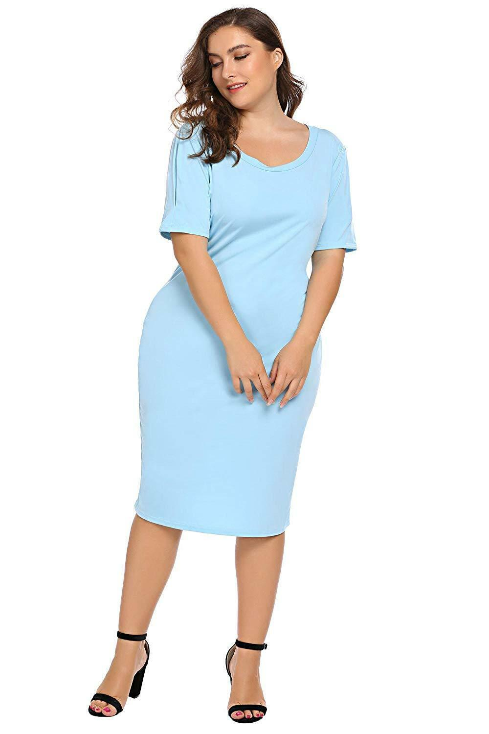 Zeagoo Women Plus Size Loose Fit Short Sleeve O-Neck Casual Midi Dress image 3