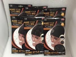 LOT OF 6 PACKS OF QFITT XL SPANDEX DOME CAP ULTRA STRETCH BLACK #5027