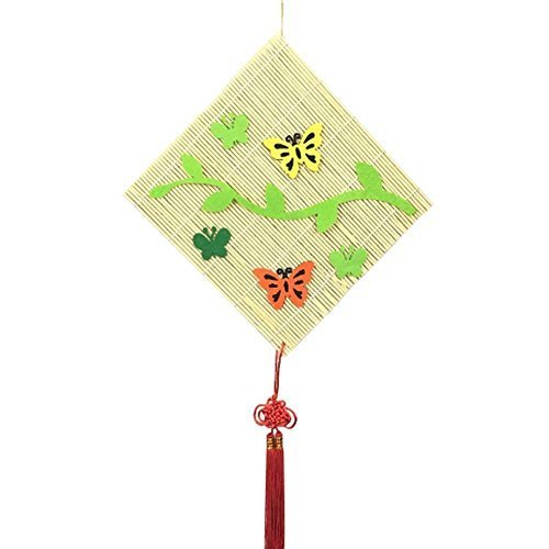 Set of 2 Simple Design Bamboo Curtain with Butterfly Dcor, 24x24 cm