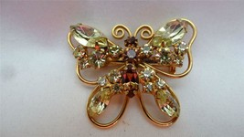 Vintage Juliana Goldtone Amber Citrine Rhinestone Butterfly Pin Brooch - $99.00