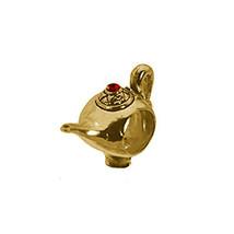 Aladdin Magic Lamp Genie Ruby 24K Gold Plated European Bead Charm Jewelry - $17.89