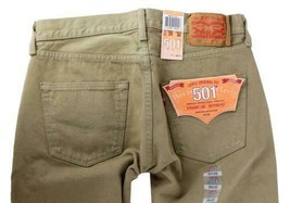 NEW LEVI'S 501 MEN'S ORIGINAL FIT STRAIGHT LEG JEANS BUTTON FLY BEIGE 501-1212