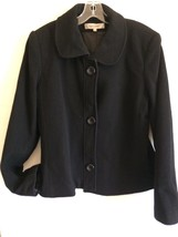 EUC HARVE BERNARD Black Cashmere Wool Lined Jacket Lg Jackie O Vintage - $31.92