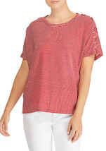 NWT LAUREN RALPH RED WHITE LINEN TOP BLOUSE SIZE L $79 - $28.21