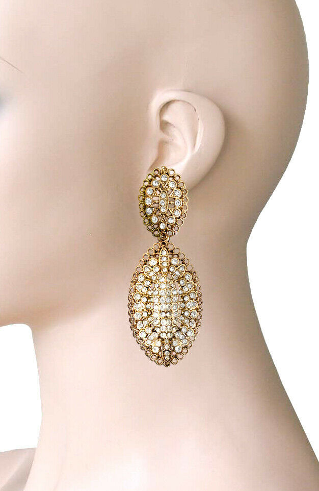 "3"" Long Antique Gold Tone Clear Rhinestones Filigree  Clip On Earrings Bridal - $16.63"