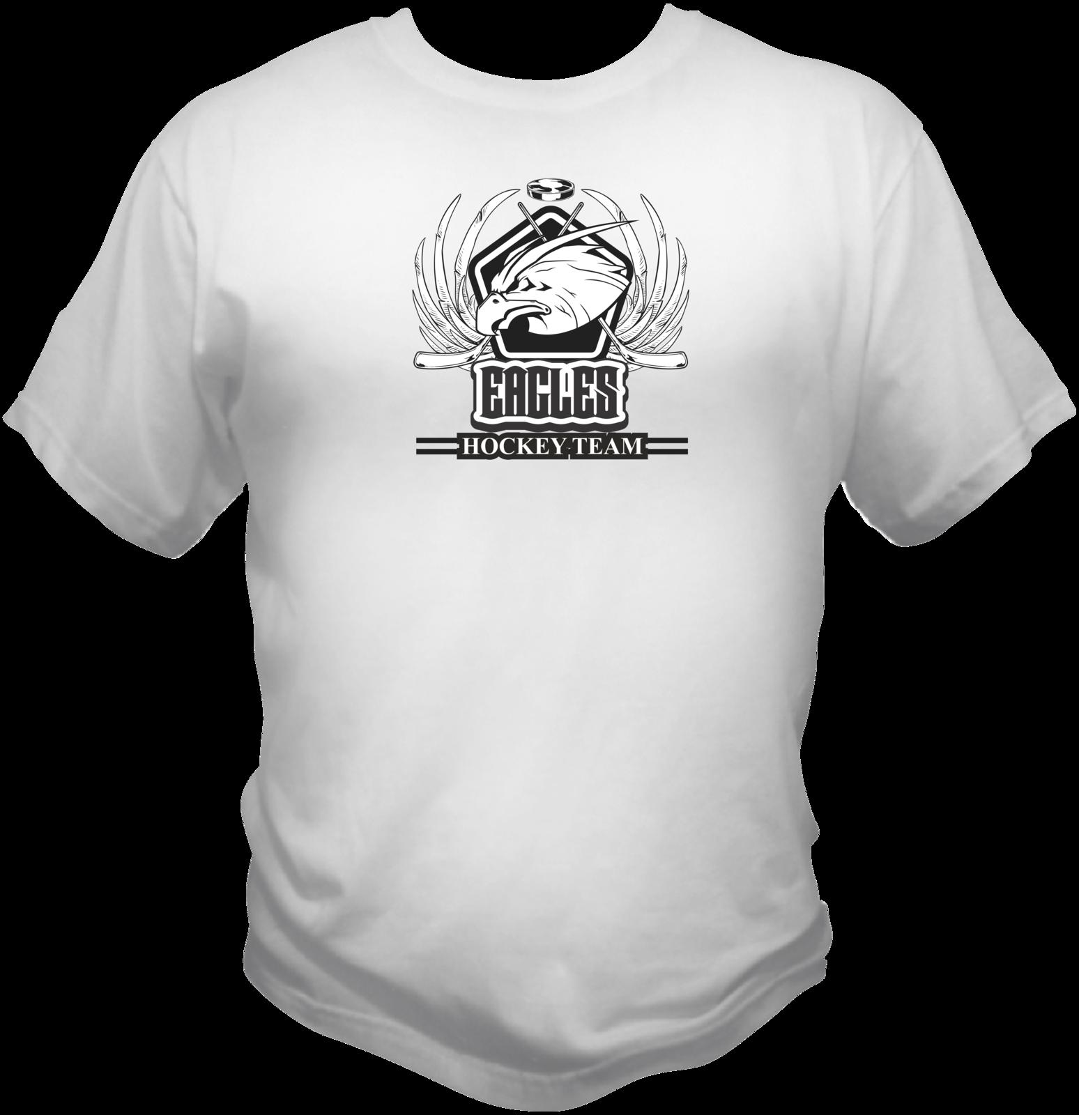 Eagles Hockey Team Sports Style Graphic T Shirt Black Red White L XL 2XL