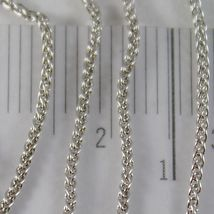 SOLID 18K WHITE GOLD SPIGA WHEAT EAR CHAIN 24 INCHES, 1.2 MM, MADE IN ITALY  image 3