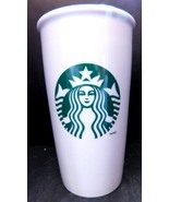Starbucks White Logo Tall Travel Mug Tumbler Ceramic Mug Cup With Lid 12 oz - $12.77