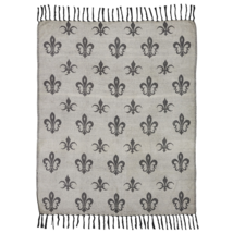 Elysee Chenille Jacquard Woven Throw - Black Fleur de Lis on Creme Ground - VHC