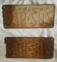 1936 36 Wisconsin Wi License Plate Pair Great Look image 3