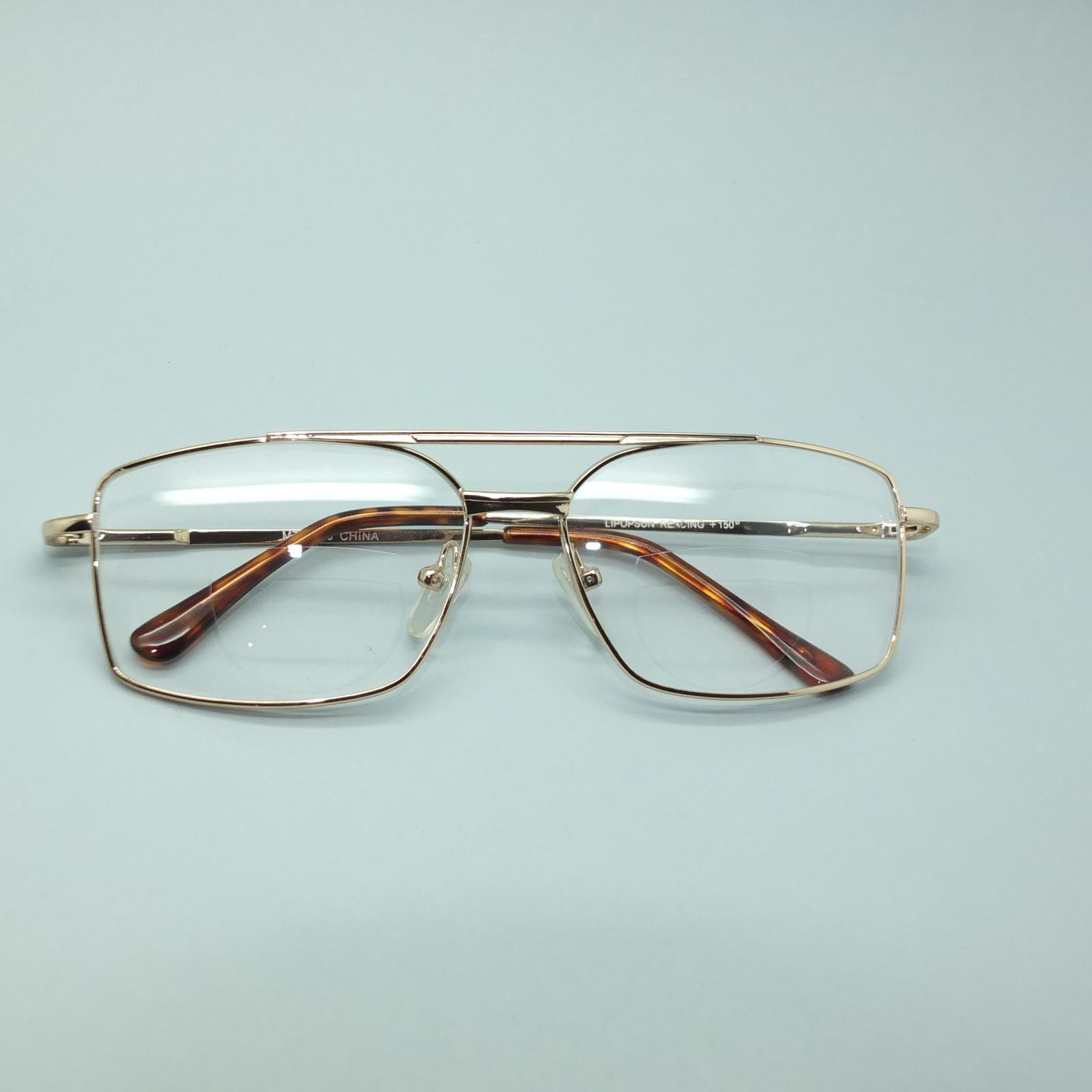 32b5eb1ff19 Bifocal Reading Glasses Square Aviator 80 s Style Gold Metal Frame +2.00  Lens