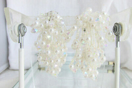 Crystal Faux Pearl Sparkling Cascade Earrings Large Clusters Prom 1980s ... - $18.00