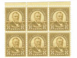 1927 Ulysses S Grant Block of 6 US Postage Stamps Catalog Number 640 MNH
