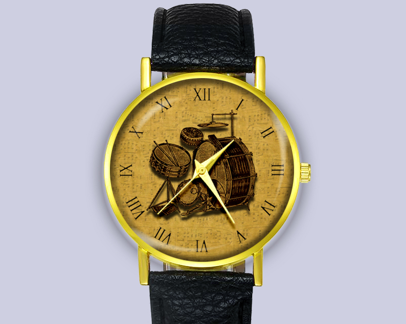 Vintage Illustration Drum Kit 1930s Leather Watch Unisex Gift Ideas Accessories