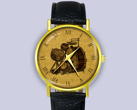 Vintage Illustration Drum Kit 1930s Leather Watch Unisex Gift Ideas Acce... - $12.50