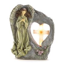Beautiful Divine Sentinel Angel Solar Light Statue NEW Heart Holy Cross ... - $24.04