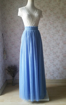 DUSTY BLUE Maxi Tulle Skirt High Waist Full Length Bridesmaid Skirts NWT