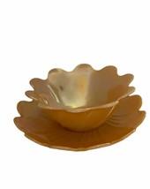 Fire King Orange Luster Petal Edge Dessert Bowl and Plate set 1950's - $18.76