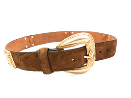 Womens Brighton Brown  Suede Leather Belt Size S Gold Buckle & Ornaments... - $28.22