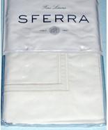 Sferra Grande Hotel Euro Sham Cotton Percale White/White Double Satin St... - $56.90