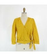 S - Madewell Womens Yellow Star Scatter Cotton 3/4 Sleeve Wrap Shirt Top... - $29.00