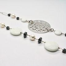 Collier Long 1 MT en Argent 925 Avec Hématite Agate Et Perles Fabriqué En Italie image 6