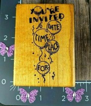 All Night Media You're Invited Date Time Place For Party Rubber Stamp #A86 - $3.96