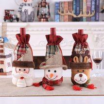 Christmas Wine Bottle Cover Set Santa Claus Snowman Party Home Decor Sup... - $6.99+