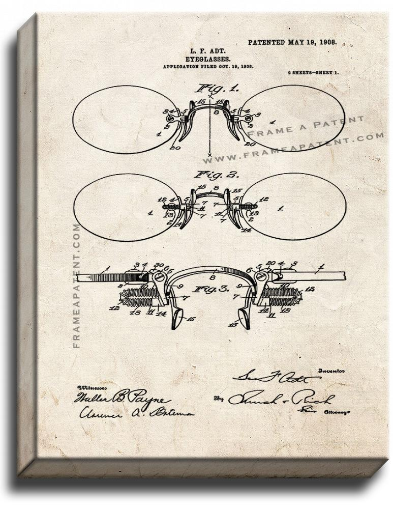 Primary image for Eyeglasses Patent Print Old Look on Canvas