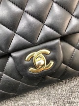 AUTHENTIC Chanel Quilted Lambskin Classic Medium Black Double Flap Bag GHW image 7