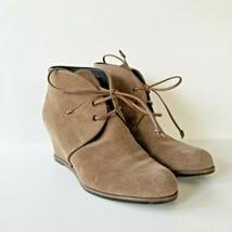 Stuart Weitzman Kalahari Hidden Wedge Bootie Womens Size 6 M Suede Leather Beige - $48.37